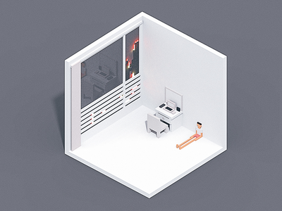 Giving up. room isometric voxel illustration debut