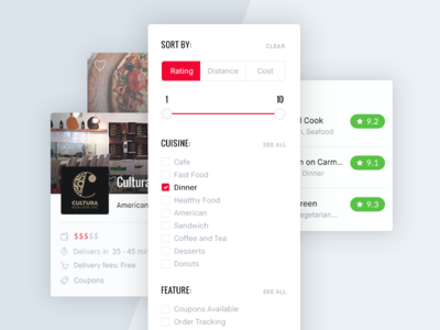Food Delivery Web App Elements delivery food sort slider ratings userpic filters elements ui