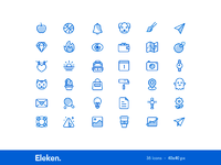 36 bicolor cute icons 40x40px