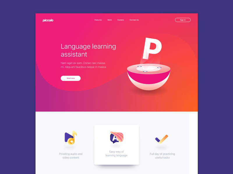 Piccolo Landing Page eleken assistant landing teaching learning study language concept ux ui