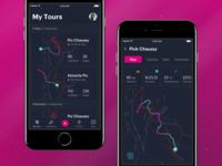 Ski App Black ios mobile dark map sports tour track ski eleken app ux ui