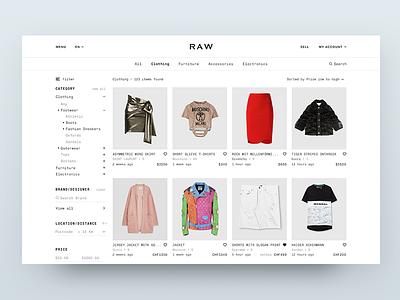 RAW Homepage ux sell search price navigation menu marketplace layout item homepage filter eleken