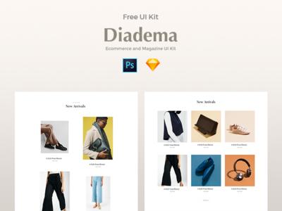 Diadema UI Kit psd freebie psd sketch freebie typography slider grid search landing ios web mobile app ux ui