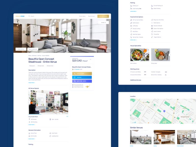 Venue Genie – Venue Page app web list description map apartment booking venue ux ui