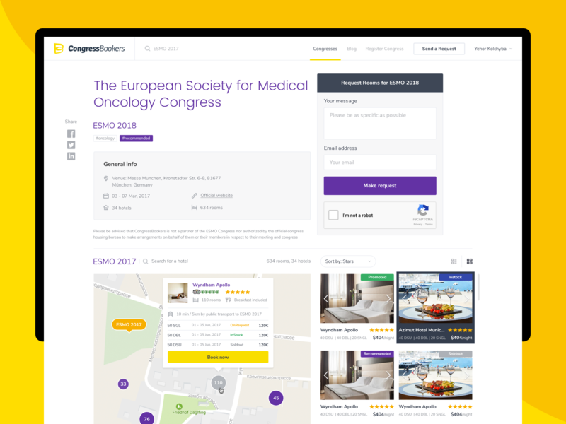 CongressBookers | Congress Page search booking medical map congress web app ux ui