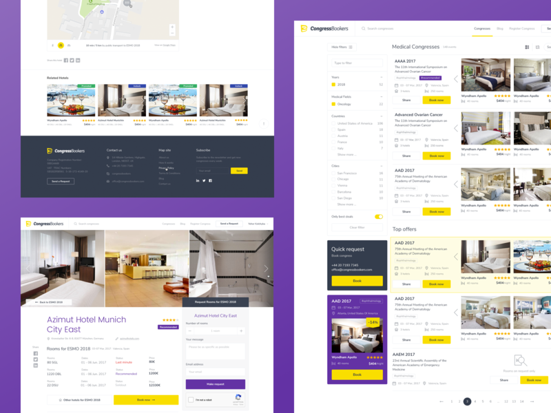 CongressBookers hotel booking slider filters search landing web app ux ui
