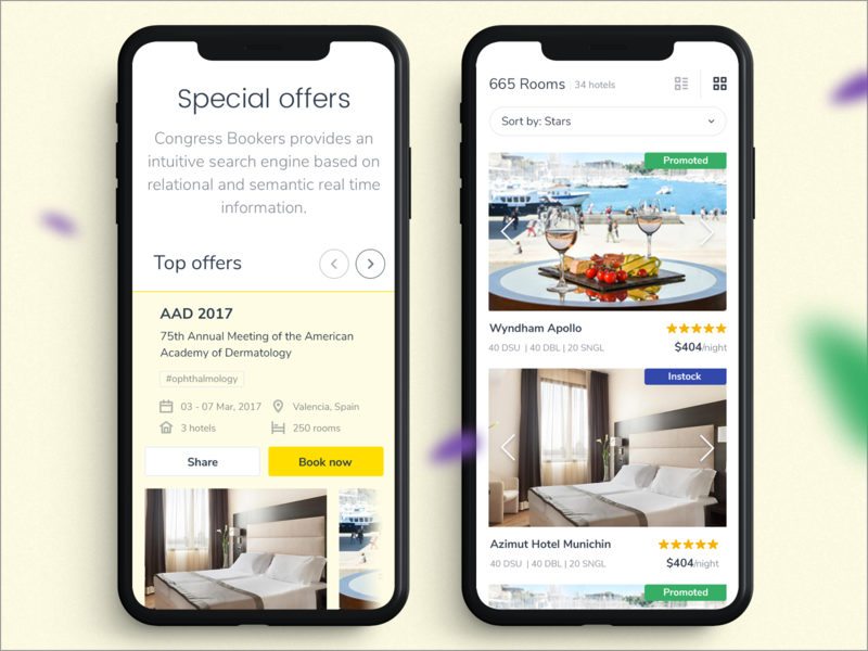 Mobile Special Offers slider sort rating hotel special offer booking landing web mobile ux ui