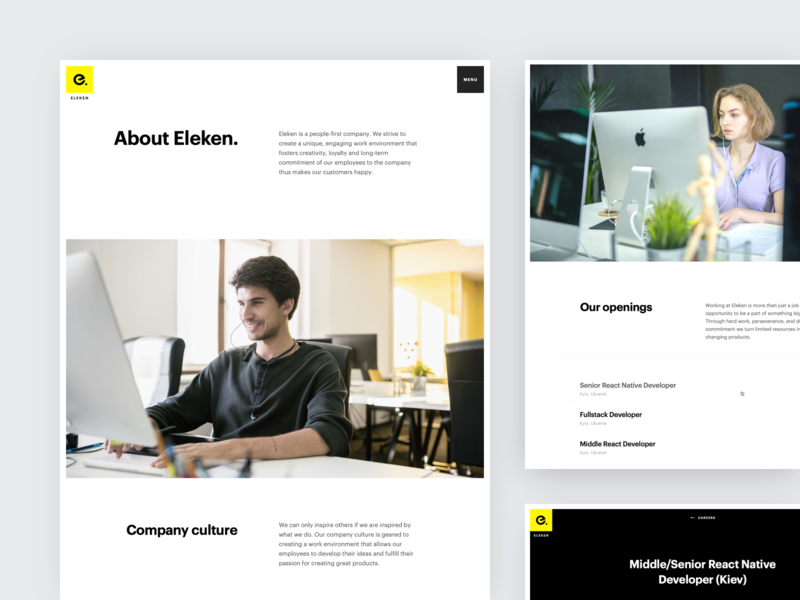 Eleken | Company Pages agency company careers about landing web animation ux ui eleken