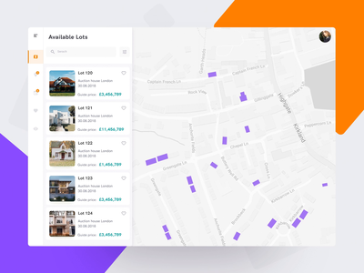 Route planning location based auction bid lots real estate location route web animation app eleken ux ui