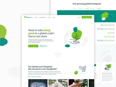 Handprinter Homepage illustration eco footprint handprint peace leaves tree green homepage landing page