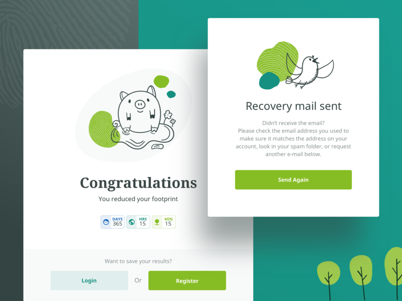Handprinter Popups eco handprinter eleken illustration illustrator finish congratulations recovery email confirmation popup ux ui