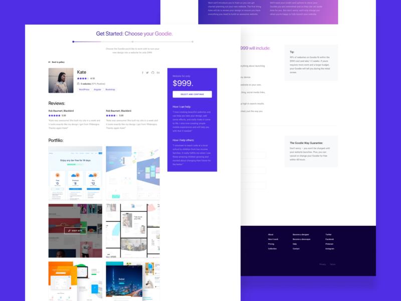 X Team Goodie UI web steps wizzard fixed price portfolio goodie profile freelance ux ui