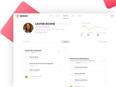 X Team Unleash developers profile timeline checklist graphic design web xteam ux ui