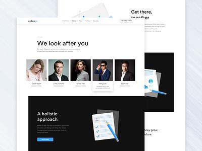 endowus.com website redesign site corporate landing finance business investments invest endow credit finance illustration web