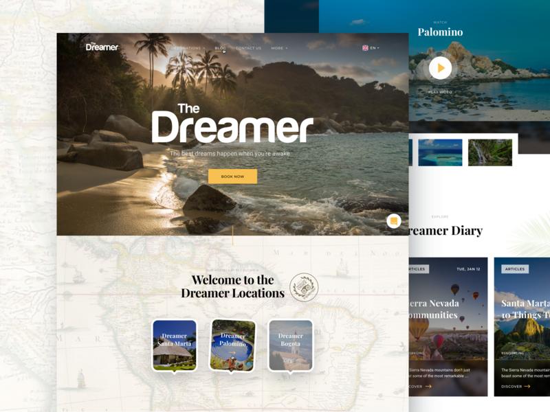 The Dreamer Hostels Homepage design illustration landing dreamer eleken ux ui