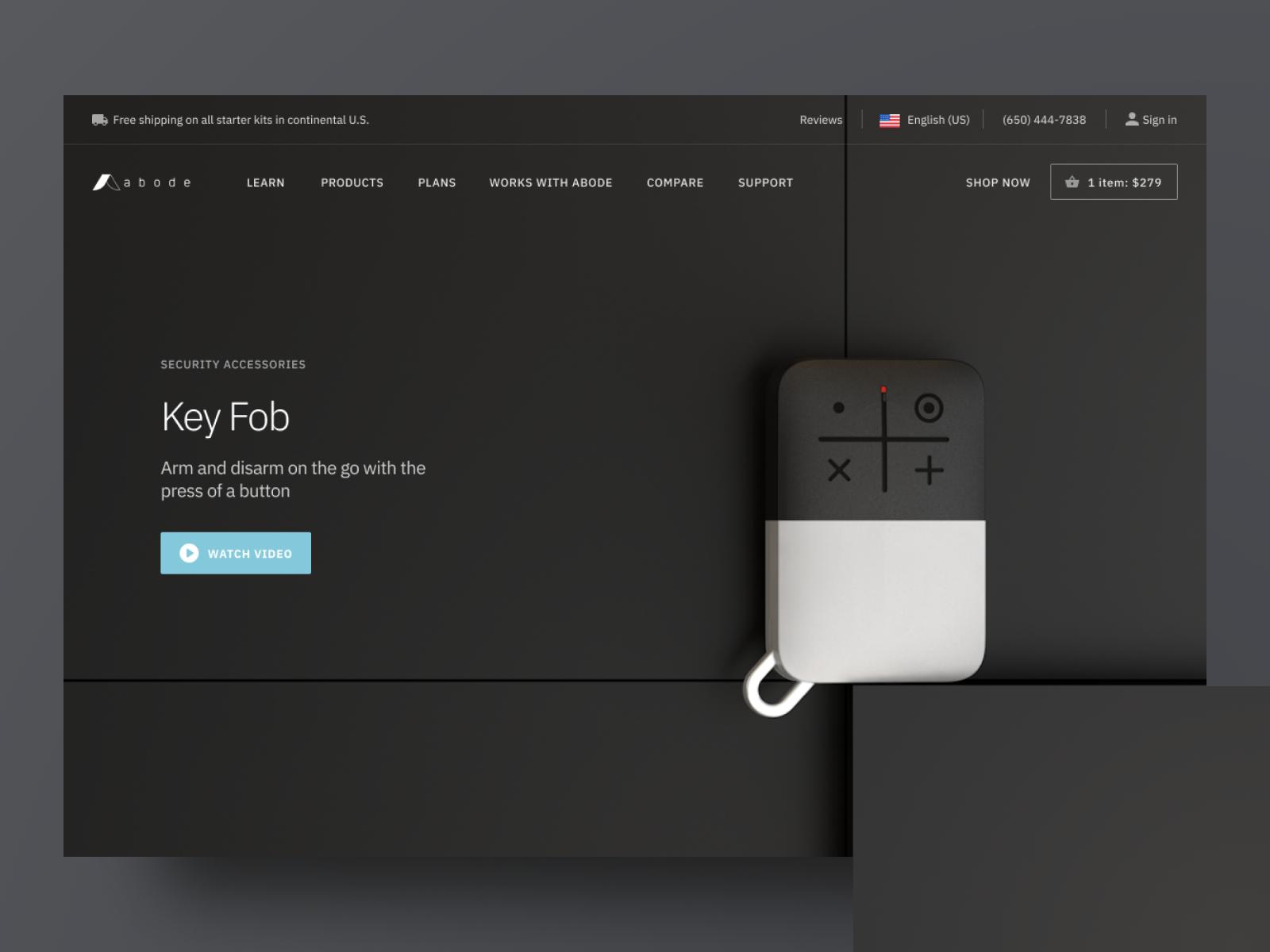 Abode – Product Page – Keyfob by eleken on Dribbble