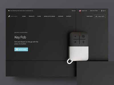 Abode – Product Page – Keyfob rendering 3d illustration landing web app eleken ux ui