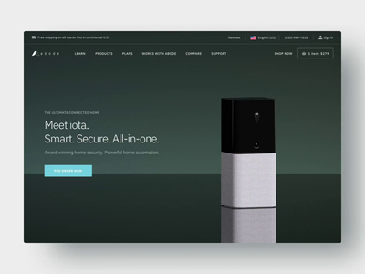 Abode Product Website product homesecurity camera device design landing home iota kickstarter diy security 3d animation site ux ui