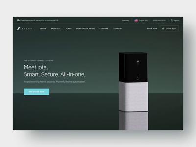 Abode Product Website product homesecurity camera device design landing home iota kickstarter diy security 3d animation site ux ui
