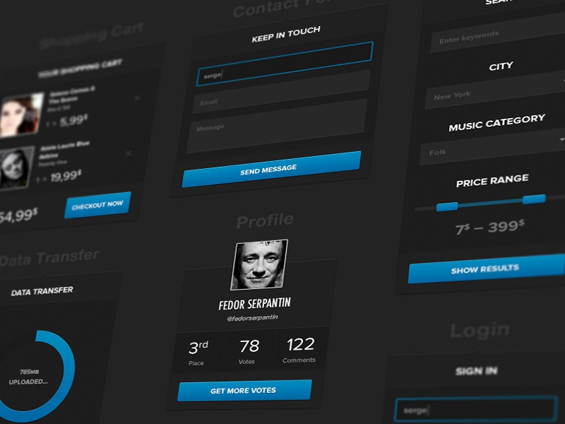 UI Kit info new fields ui dark profile contact form shopping cart interface login search filter circle sign in popup web bar clean slider kit ios style sharp music store modern ux blue