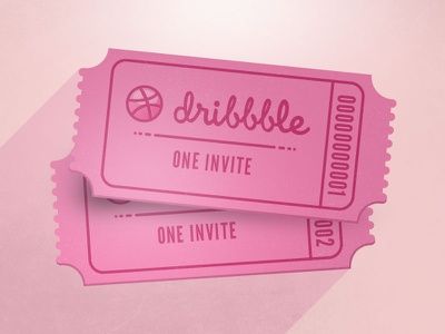 5 Dribbble Invites invite dribbble pink ticket