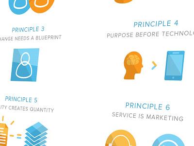Peoplework Principle Icons graphic design design icons minimal orange blue book
