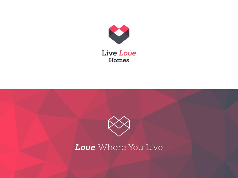 Live Love Homes Logo low-poly logo branding real estate