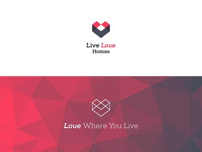 Live Love Homes Logo low-poly logo branding real estate