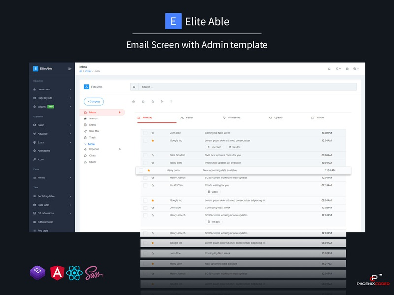 Elite Able Admin Template & UI Kit - Email screen by Phoenixcoded on