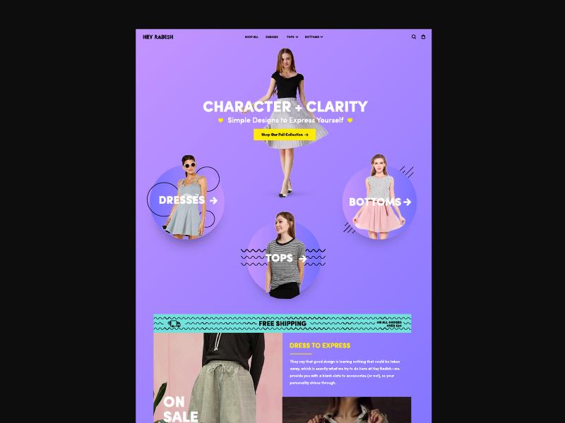 Hey Radish boutique fashion web fun colorful gradient brand website