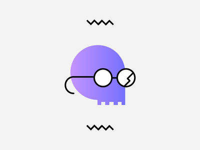 Skull illustration color gradients icons