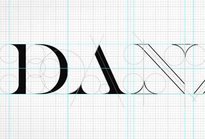 DANZK wireframe logo typography logotype sketch black grid