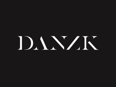 Danzk white typography logotype logo black