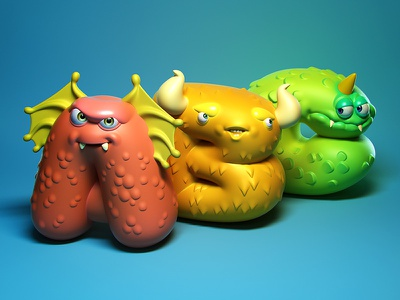 Monstrous Alphabet monster 3d illustration character design toy design vinyl toy designer toy