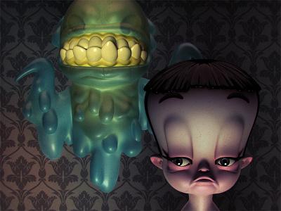 Queenie and Her Friend, Dripkill monster 3d illustration character design toy design vinyl toy designer toy