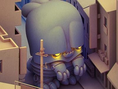Mechableb monster 3d illustration character design toy design vinyl toy designer toy