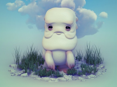 Clouds and Stones monster 3d illustration