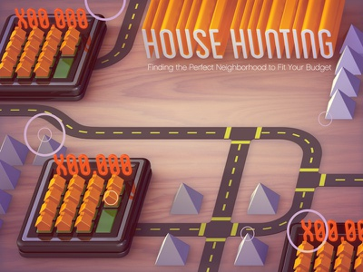 House Hunting editorial 3d illustration
