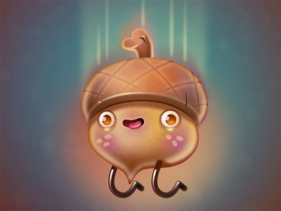 Wheeeee! illustration acorn character design