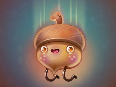Wheeeee! illustration acorn character design