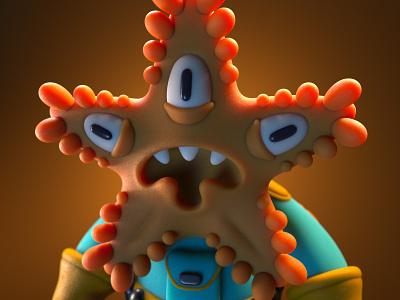 Starface the Alien vinyl toy monster 3d illustration character design