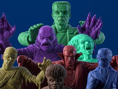 "Game Miniatures for Ravensburger's ""Horrified"" monster 3d toy design"