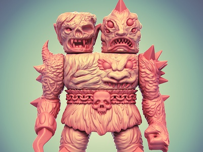 Krawluss the 2-Headed Creature of Doom monster 3d illustration character design toy design vinyl toy designer toy