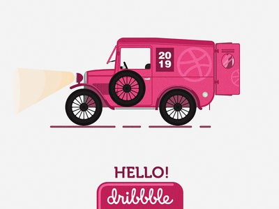 Hello Dribbble magenta graphic design freelancer 2019 drawing dribbble car hellodribble ux ui flat  design vector adobeillustration minimalist adobeillustator illustration design graphic symbol icon