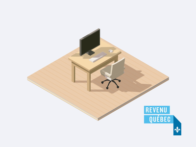 Isometric Scene Flip for Revenu Québec chair cart shopping computer desk fake 3d isometric 3d 2d minimalist simple flat cartoon finger animation hand animation motion designer motion design animation after effects