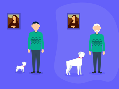 Bankin' - Save for the long term old young da vinci sweater dog fake 3d app animations character animation loop characters json animated cards card animation app mobile vector animation svg animation bodymovin lottie after effects