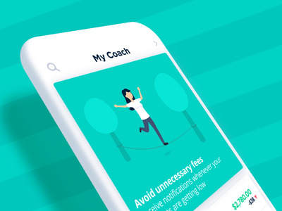 Bankin' - Avoid unnecessary fees nature outdoors activity balancing tight rope fake 3d app animations character animation loop characters json animated cards card animation app mobile vector animation svg animation bodymovin lottie after effects
