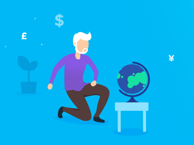 Bankin' - Reduce international fees euro dollar currency spin globe fake 3d app animations character animation loop characters json animated cards card animation app mobile vector animation svg animation bodymovin lottie after effects