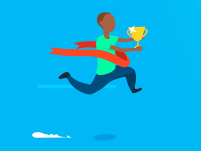 Bankin' - Reduce your baking fees award completion finish walk cycle run cycle running fake 3d app animations character animation loop characters json animated cards card animation app vector animation svg animation bodymovin lottie after effects