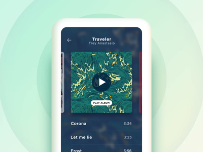 Navigate horizontally between albums ui motion design motion app mobile cover coverflow animation ios carousel collection albums audio player interactive concept minimal album music list